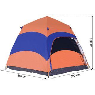 Outsunny Quick-Up-Zelt Campingzelt Doppelwandig Familienzelt für 5–6 Personen