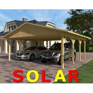 Carport Satteldach SUNSHINE I Solar 600x600cm KVH-Holz Satteldachcarport
