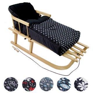 Rawstyle *KOMBI-PAKET* Holz-Schlitten mit Rückenlehne & Zugseil