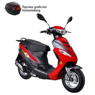 Roller GMX 450 SPORT Mokick 45 km/h rot 2,1 KW / 2,9 PS/Luftgekühlt/Alufelgen/Gepäckträger/Scheibenbremse/Teleskopgabel Hydraulisch/ab 16 Jahren