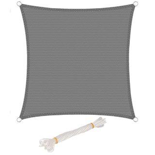 WOLTU Sonnensegel Quadrat 4x4m Grau atmungsaktiv Sonnenschutz