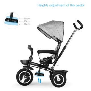 Fascol Baby Dreirad 4in1 Kinderdreirad Tricycle Fahrrad Kleinkinder Kinder Dach
