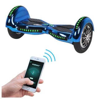 Robway W3 Hoverboard - Das Original - Samsung Marken Akku - Self Balance - 21 Farben - Bluetooth - 2 x 400 Watt Motoren – App – LED (Blau Chrom)