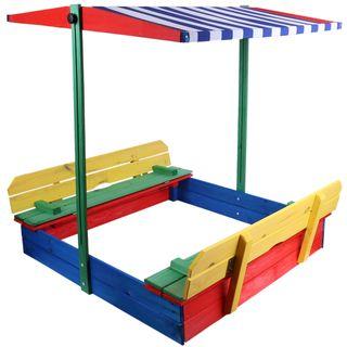 sarcia.eu Sandkasten mit Sitzbank und Dach
