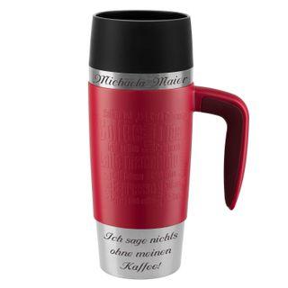 Emsa Thermobecher Travel Mug Handle mit persönlicher Rund-Gravur Edelstahl 360 ml