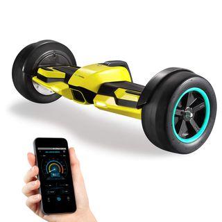 """8.5"""" Premium Hoverboard HX600 mit Slicks und Aluminium Chasis - Deutsche Qualitäts Marke - App Bluetooth Subwoofer - Starker Dual Motor - Offroad Elektro Skateboard Self Balance Scooter (Gelb)"""