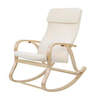 SONGMICS Sessel schwingsessel Schaukelstuhl Relaxstuhl beige LYY30M
