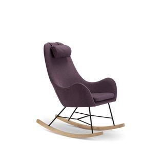 SalesFever Schaukelstuhl Sessel mit Armlehnen und Stoff bezogen Rocha Lila