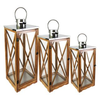 Mojawo 3er Laternen-Set Holz XL H34/52/70 Windlicht Braun Gartenlaterne