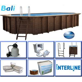 Interline 50700240 Bali Auf-und Erdeinbau Holzwand oval Pool 6,40m x 4,00m