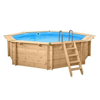 Interline 50700220 Bali Auf-und Erdeinbau Holzwand Rund Pool 5,30m x 1,36m