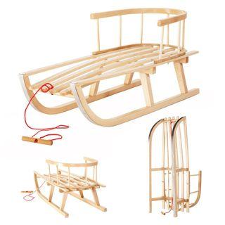 IMPWOOD Holzschlitten mit Rückenlehne und Zugseil Schlitten aus Holz Kinderschlitten