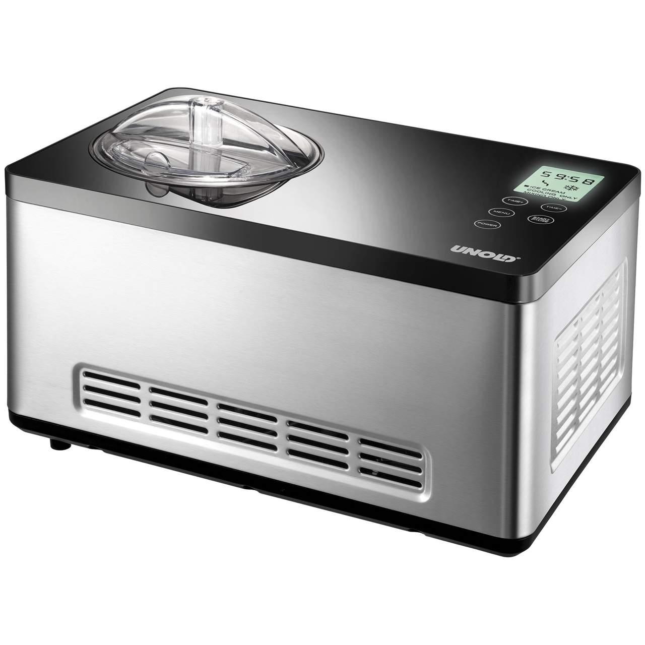 Vollautomatische Kompressor Eismaschine selbsk/ühlend mit zweiter Sch/üssel f/ür 2 x 2 Liter leckeres Eis 180 Watt