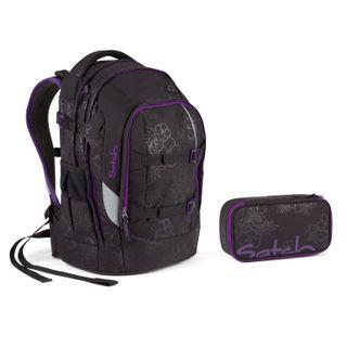Satch Schulrucksack-Set 2-TLG Pack Purple Hibiscus Schwarz
