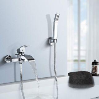 BONADE Badewannenarmatur mit Handbrause Duschsysteme Duscharmatur mit Wasserfall Auslauf