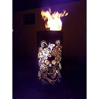 Tiko-Metalldesign Feuerkorb Skull in Flowers
