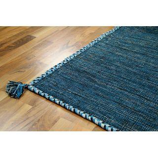 Natur Teppich Bauwolle Kelim Prico Blau Petrol in 8 Größen