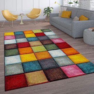 Paco Home Kurzflor Wohnzimmer Teppich Bunt Karo Design Vierecke