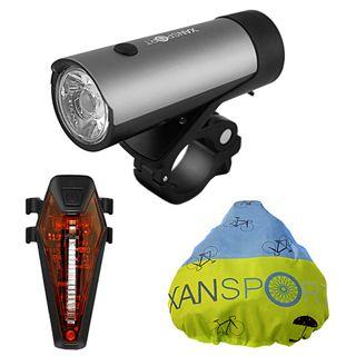 XANSPORT LED Fahrradlicht Set mit Halterung