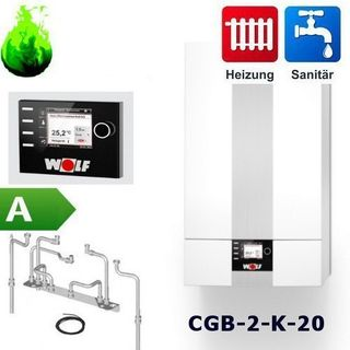 Gas-Brennwert-Kombitherme Wolf Paket CGB-2-K-20