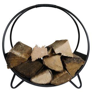 khevga Kamin-Holzkorb Metall modern rund