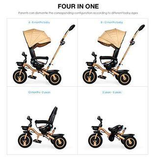 FASCOL 4in1 Dreirad Kinderdreirad Kombikinderwagen Baby Klappbar Kinderfahrrad