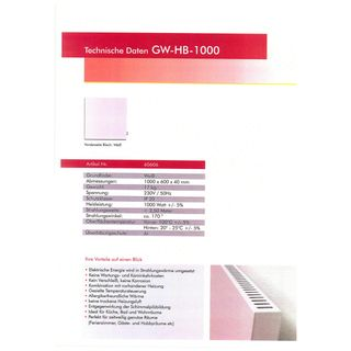 Glas Wärmt Infrarotheizung GW1000