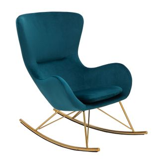 Riess Ambiente Design Schaukelstuhl Scandinavia Swing grün Samt Gold