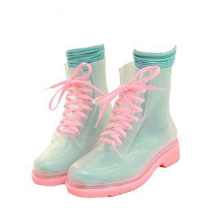 Mini Balabala Damen Chelsea Rain Boot Gummistiefel Kurzschaft Ankle