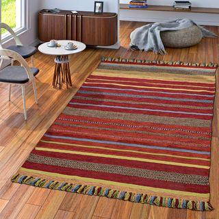 TT Home Handwebteppich Wohnzimmer Natur Webteppich Kelim Baumwolle