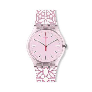 Swatch Armbanduhr Leder Sonstige Analog Quarzwerk Silikonband SUOP109