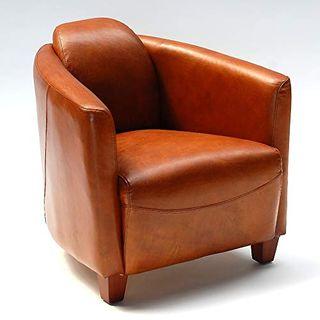 Phoenixarts Vintage Ledersessel Braun Echtleder Sessel Design Lounge