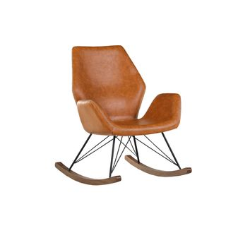 Stylefurniture Schaukelstuhl Bezug Lederlook Vintage Dunkelbraun Metall Breite 74cm