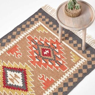 HOMESCAPES Kelim-Teppich Jaipur handgewebt aus Wolle