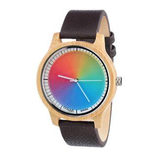 Rainbow Watch Cool Wood Bamboo Gamma Unisex Armbanduhr Quarz