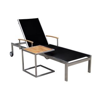 OUTFLEXX Sonnenliege inkl. Tisch aus hochwertigem schwarzen Edelstahl und Teak-Holz