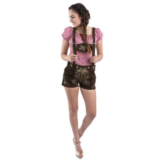 Damen Jugendstil Trachtenlederhose Oktoberfest kurz Trachten Lederhose Trachtenhose