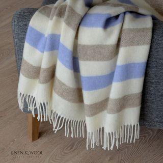 Linen & Cotton Wolldecke Gestreift mit Neuseeland Wolle Malmo