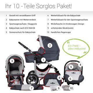 Bergsteiger Capri Kinderwagen 3 in 1 Kombikinderwagen Megaset 10 teilig