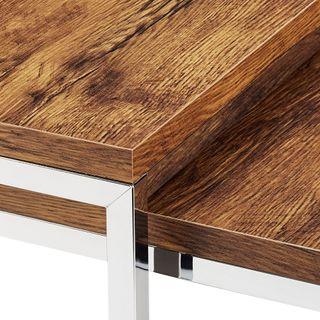Relaxdays Couchtisch Holz Flat 2er Set natur HBT 27 x 80 x 80 cm großer  Wohnzimmertisch passt