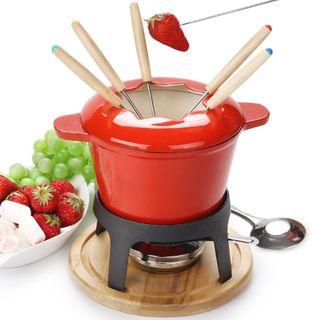 fondue set keramik cheese Gusseisen von 6 Gabeln /DIY fondue